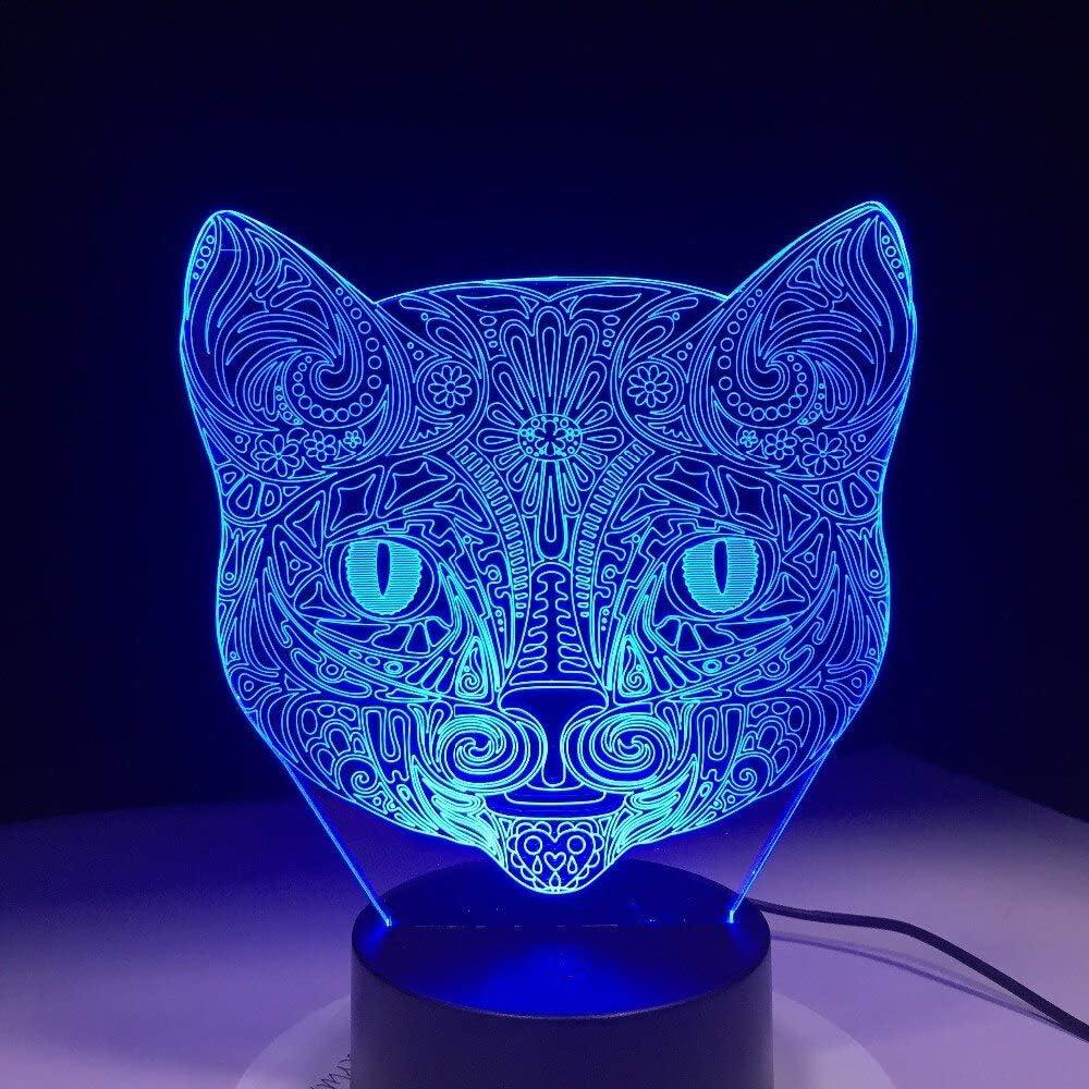 3D Night Light,Lámpara Visual 3D Con Cara De Gato, Ilusión Óptica, Luz Nocturna Led, Increíble 7 Colores, Lámpara De Interruptor Sensible Al Tacto Con Cabeza De Gato Artístico