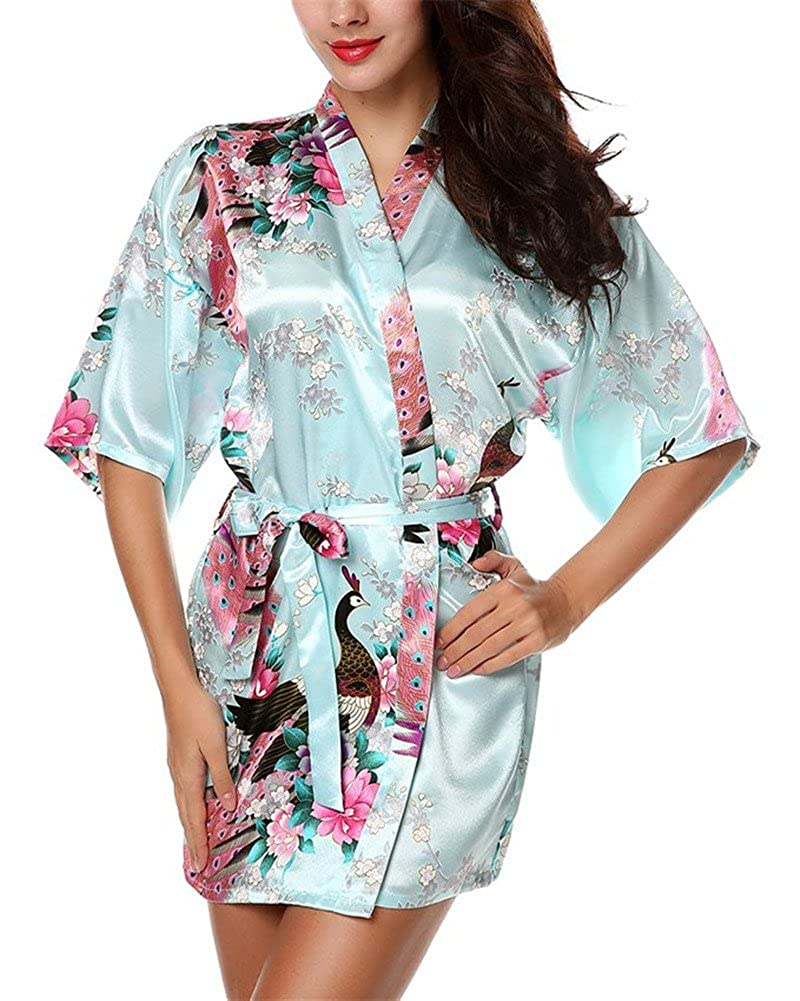 HonourSport Women's Peacock Kimono Short Robes Silk Wrap Dress Jacket Black Beach Dressing Gown Japanese Ladies Cardigan White Plus Size Red Cover Up Pattern Pink Blue Navy Green