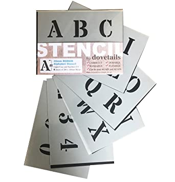 "BIG ALPHABET STENCIL LETTERS SYMBOLS 50mm tall 1.96/"" 6x Sheets Modern LOWER CASE"