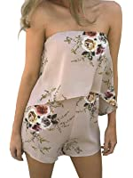 Simplee Apparel Women's Boho Floral Print Off Shoulder Sleeveless Overlay Romper Playsuit Short Jumpsuit