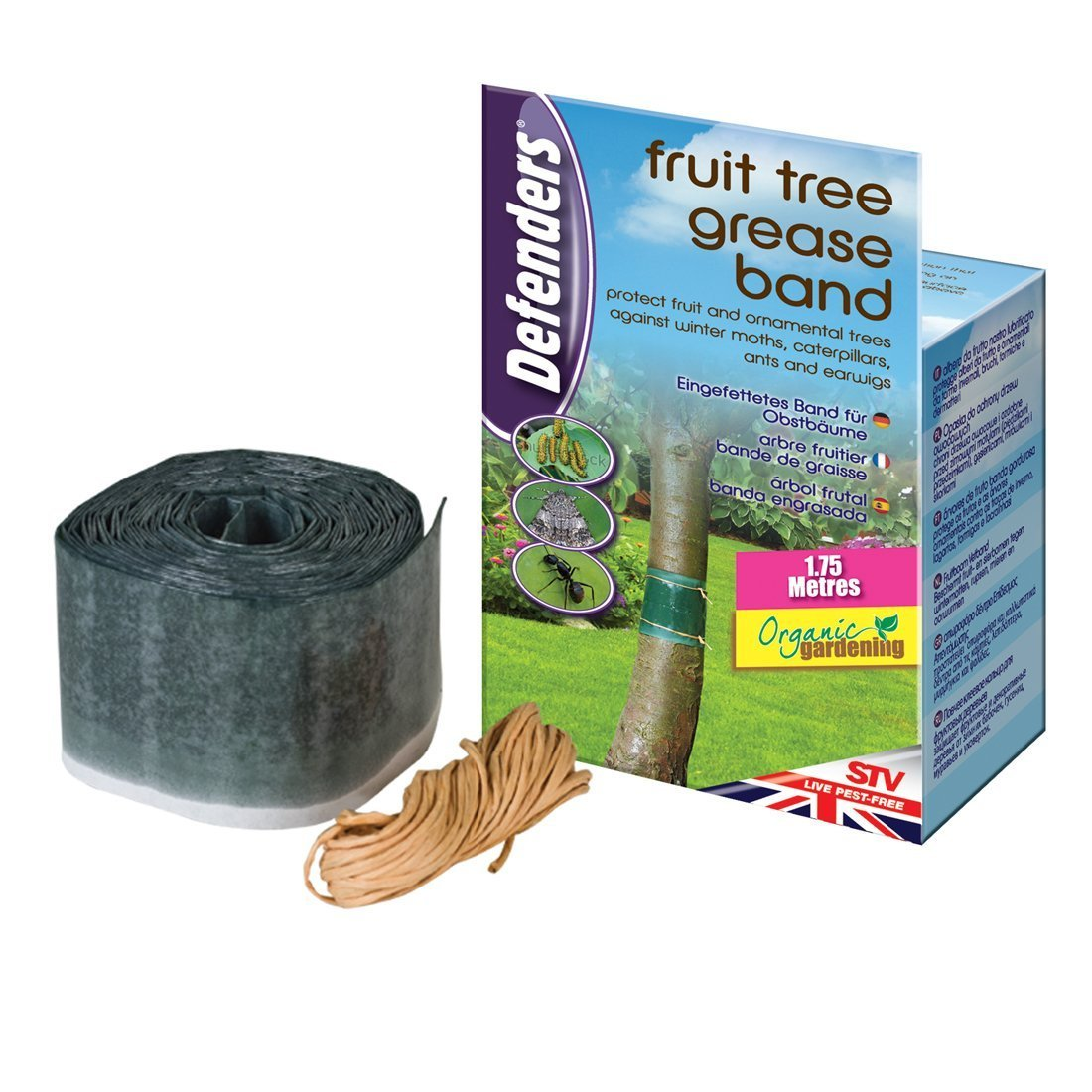 Defenders 1.75 m x 10 cm Fruit Tree Grease Band (Poison-Free Insect Protection, Suitable for Organic Gardening, Effective for Up To 2 Months) STV International STV436