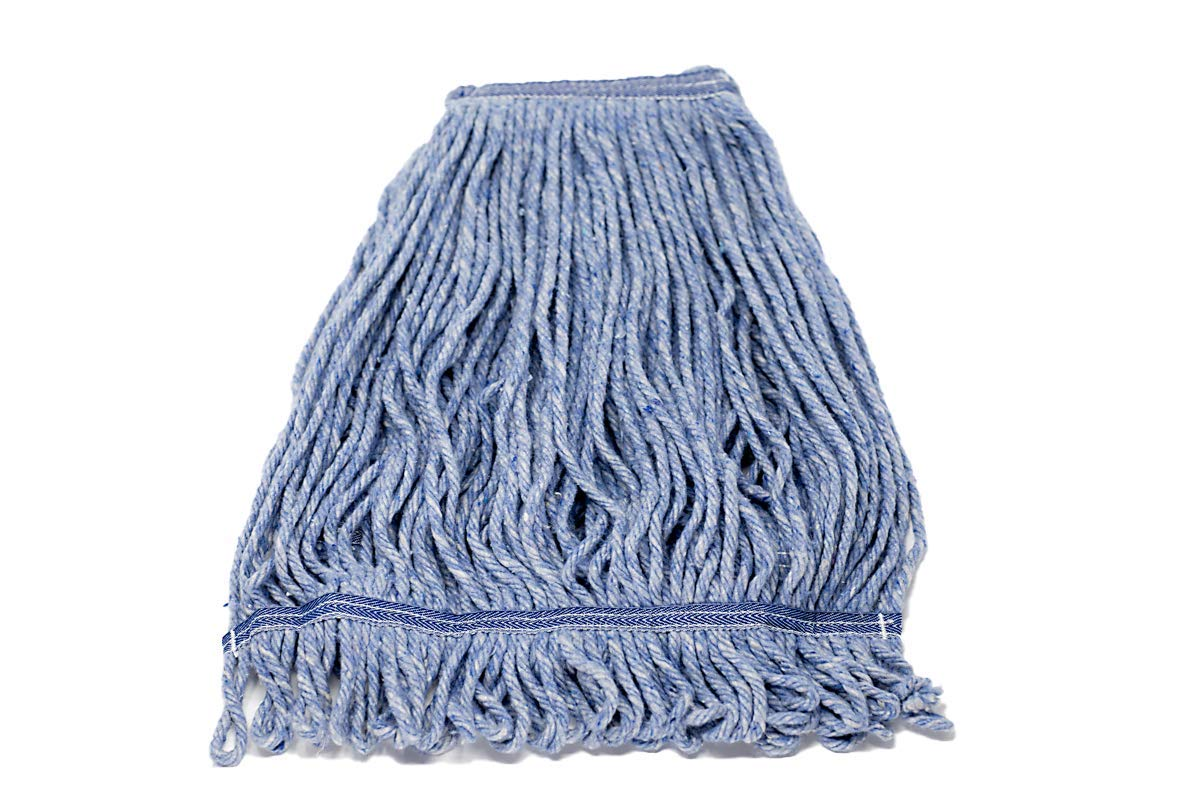 KLEEN HANDLER Heavy Duty Commercial Mop Head Replacement, Wet Industrial Blue Cotton Looped End String Cleaning Mop Head Refill
