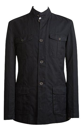 Richard Paul Mens Navy Blue Linen Safari Style Utility Military Jacket   Amazon.co.uk  Clothing 7a2bab9c70d