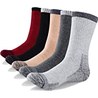 YUEDGE 5 Pairs Men's Cushion Crew Socks Outdoor Recreation Performance Trekking Climbing Camping Hiking Socks
