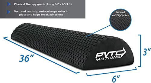 PVTL Half Round Foam Roller 12 or 36 Foam Roller for Physical Therapy Exercise Black optp 1 Year Guarantee Physical Therapy Equipment