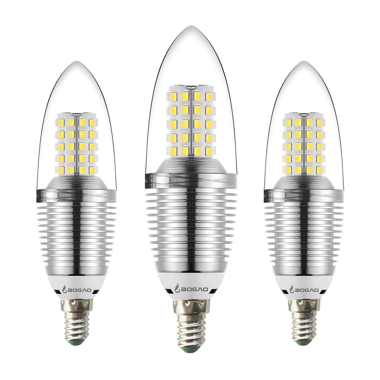 Bombilla LED E14 para Candelabro, de 12 W, color blanco, luz de día de 6000 K, equivalente a lámparas de luz de 85 a 100 W, luces LED de 1200 lúmenes, ...