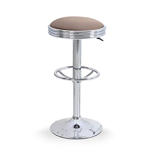 ALPHAHOME Swivel Bar Stool Counter Height Round PU Leather Adjustable Chair Pub Stool with Chrome Footrest Khaki, 1 pc