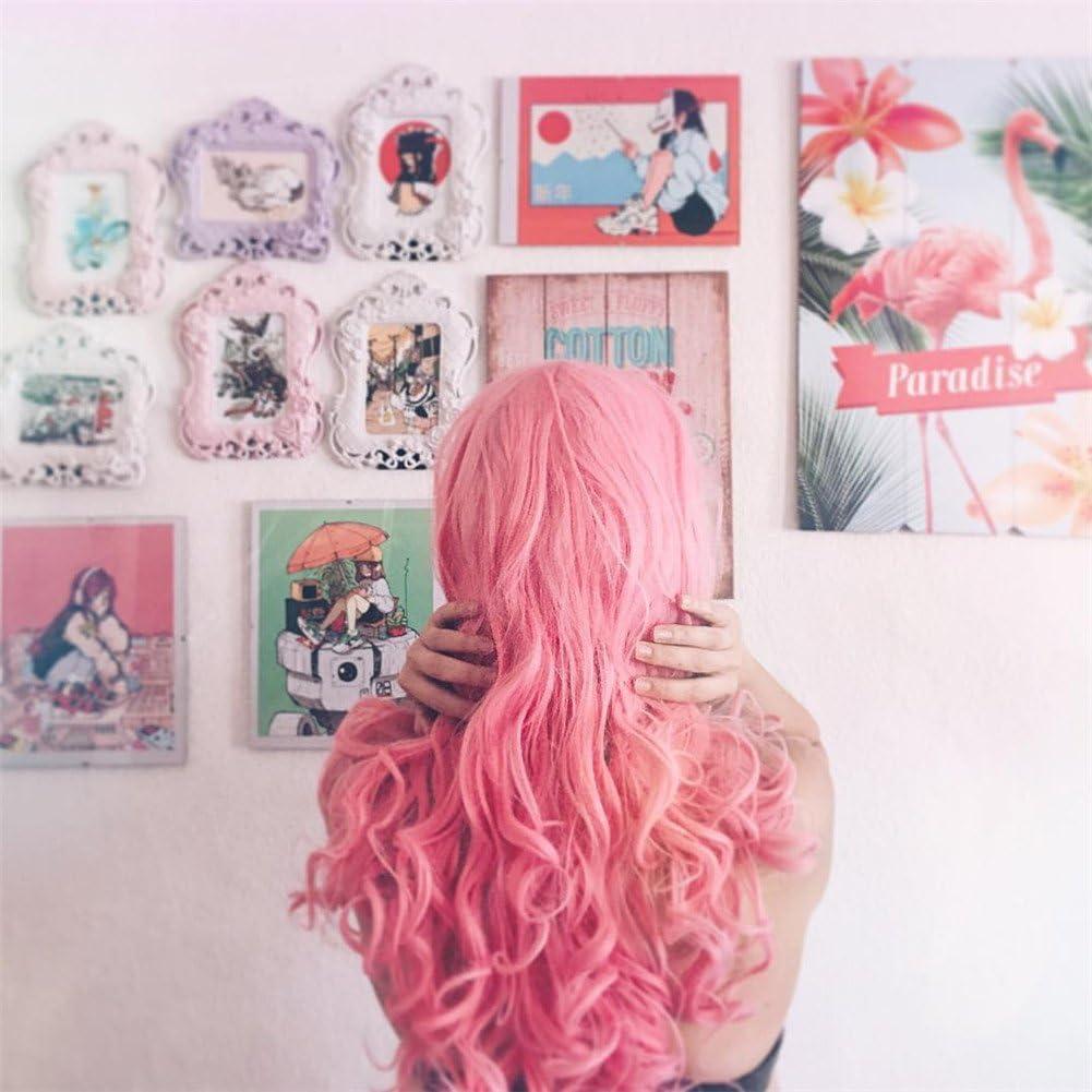 heahair® Fashion Color Rosa Pelucas hecho a mano las mujeres sintético Lace Front Peluca Resistente Al Calor Natural Largo Ondulado Pelucas Para Niña