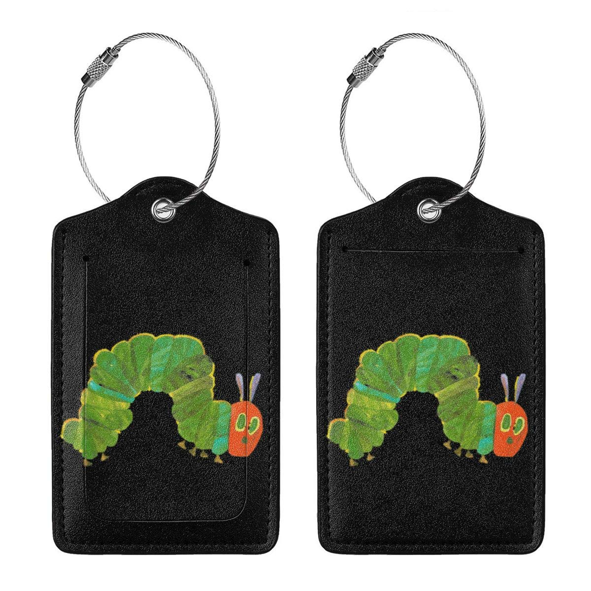 The Very Hungry Caterpillar Leather Luggage Tags Suitcase Tag Travel Bag Labels With Privacy Cover For Men Women 2 Pack 4 Pack
