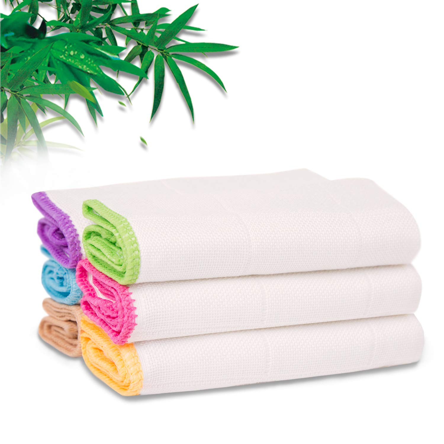 TOHAO Dish Towels, Kitchen Dishcloths 6-Pack Cleaning Cloths (11.8 x 11.8 Inch) 100% Bamboo Fiber, Ultra Absorbent & Fast Drying, Strongly Removes Oil and Dirt