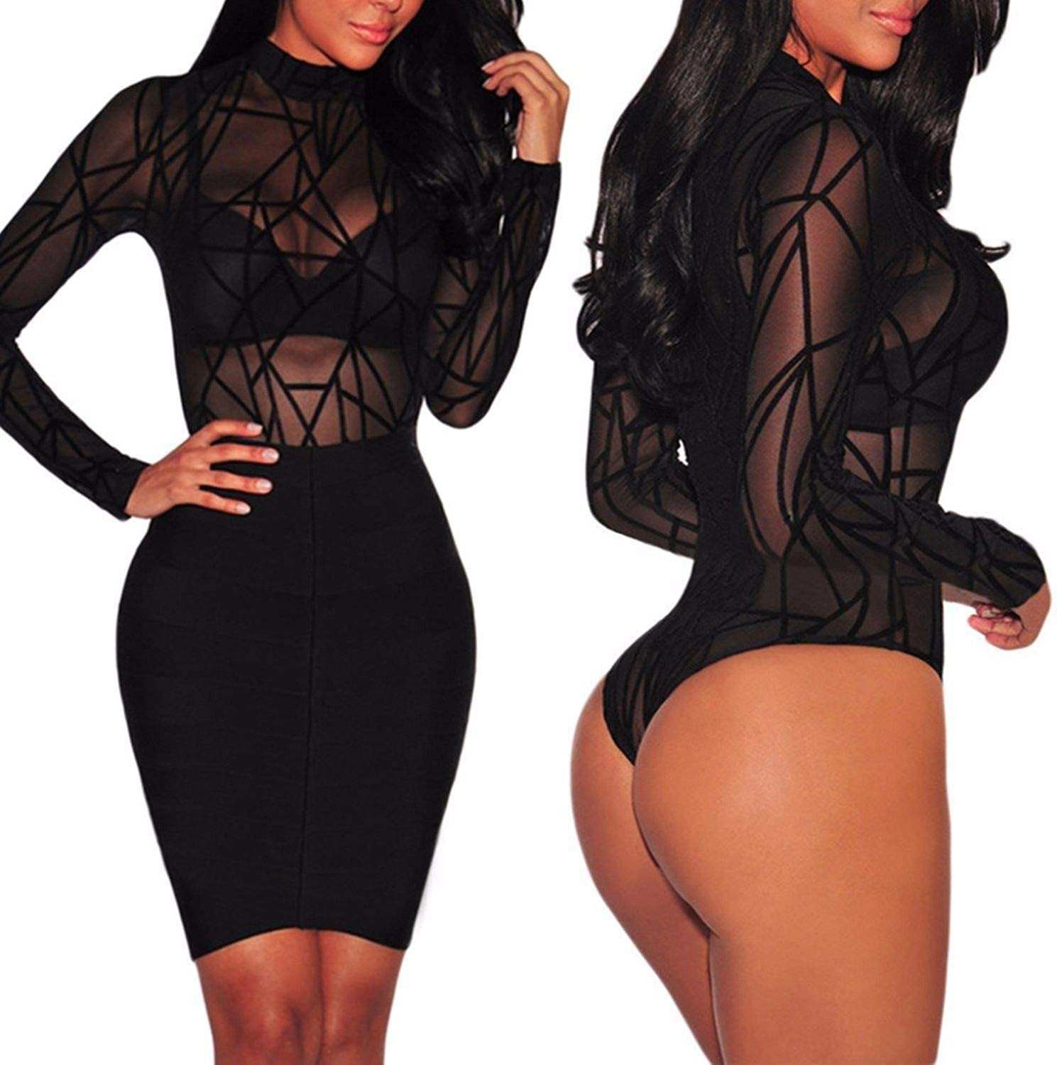 See-Through Mesh Long Sleeve High Neck Bodysuit Top Shapers Women