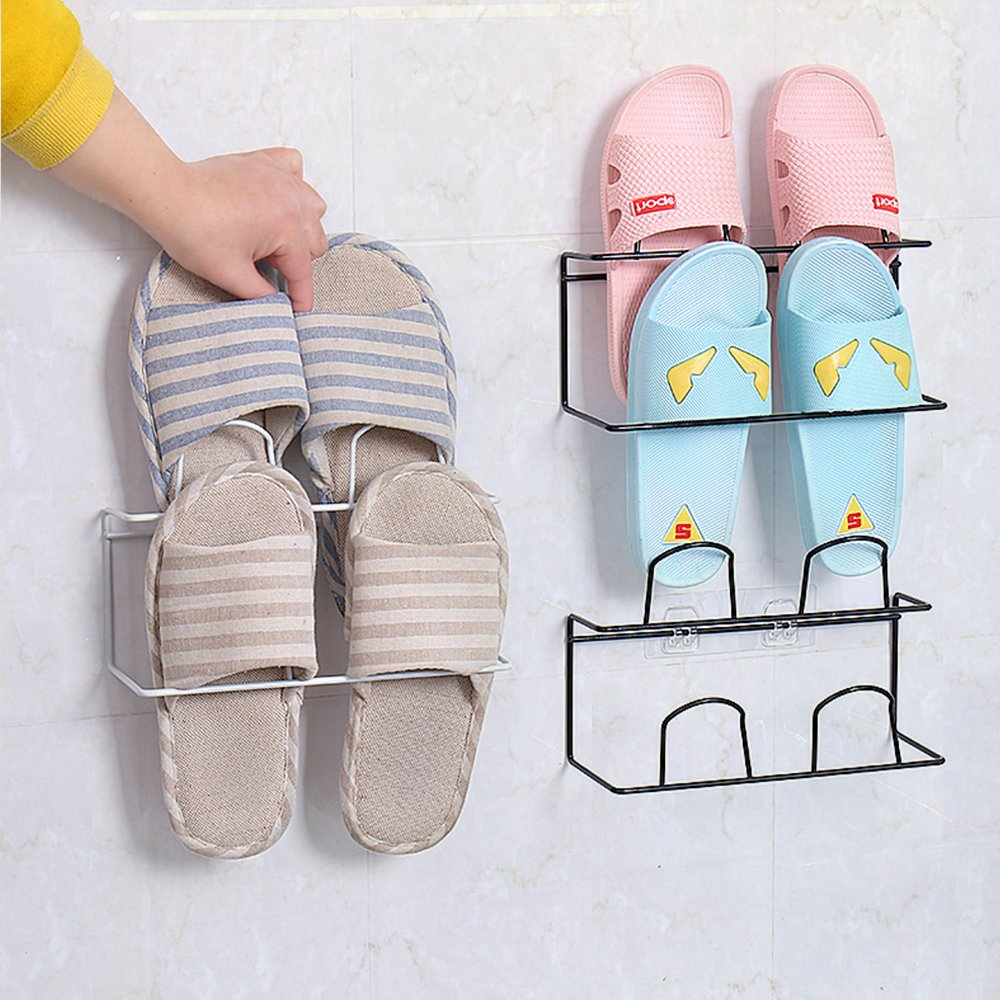 LONGPRO Wall Mounted 2 Tier Shoes Rack Slipper Shelf Storage Organizer Shoes Shelf Holder Sticky Shoe Storage Organizer Wall Shoe Hangers Wall Shoe Hangers Set of 2 Pack for Entryway Bathroom Shower R