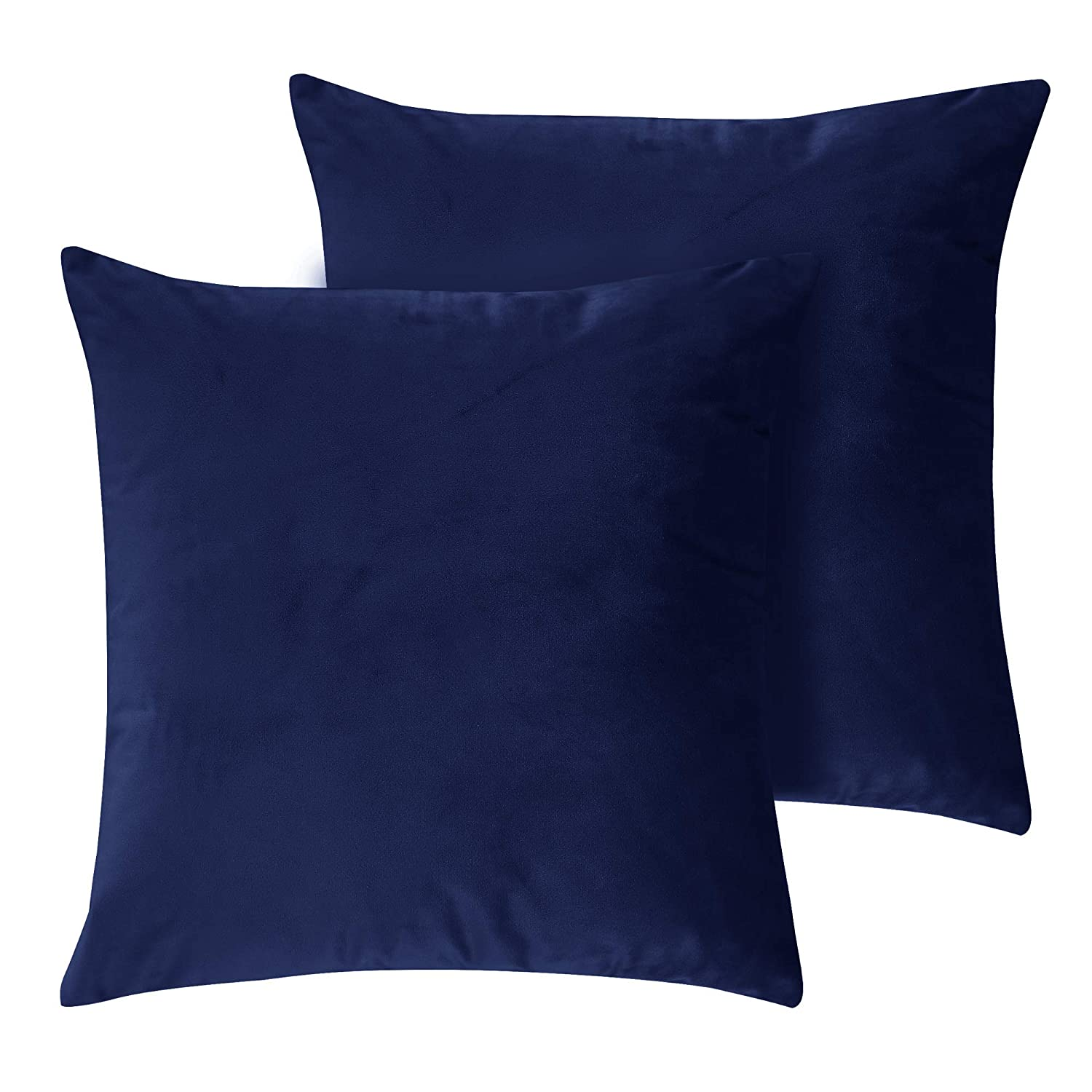 Deconovo Set of 2 Home Decorative Wine Pillowcases Cushion protectors Crushed Velvet Cushion Covers for Sofas Seats with Invisible Zipper Wine 40x40cm