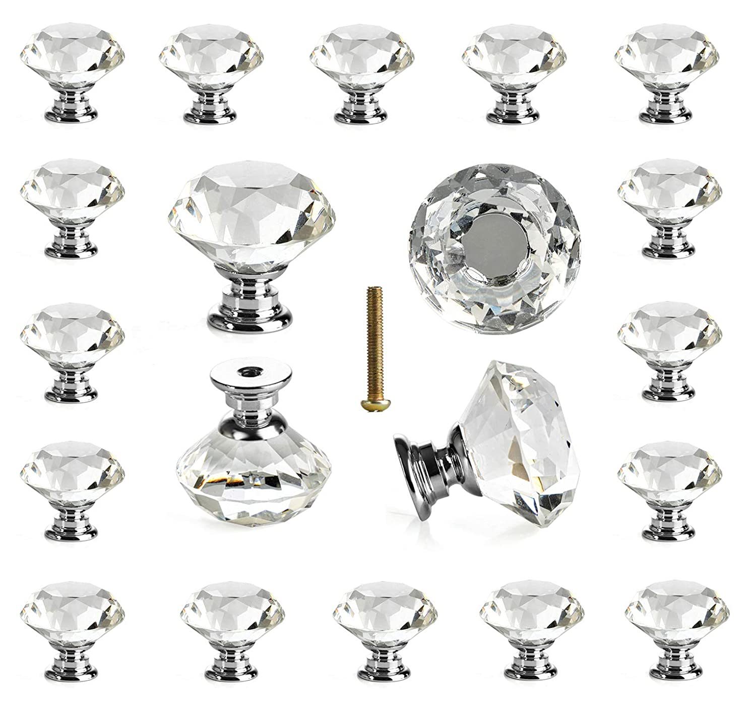 25 Pcs Glass Cabinet Knobs Crystal Drawer Pulls Clear 30 Mm Diamond For  Kitchen, Bathroom Cabinet, Dresser And Cupboard By DeElf     Amazon.com