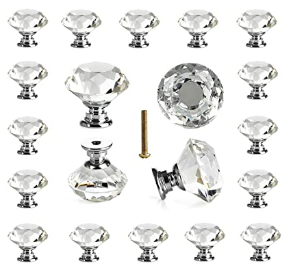 25 pcs glass cabinet knobs crystal drawer pulls clear 30 mm diamond rh amazon com clear glass cabinet hardware clear glass cabinet hardware