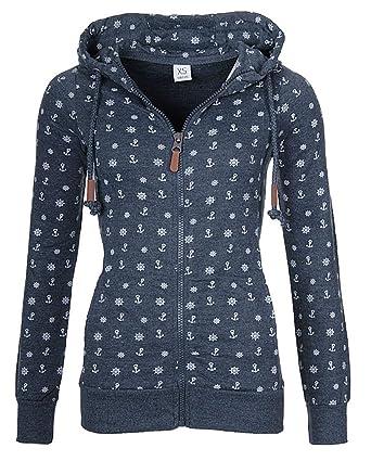 hot sales d6a61 56a85 EwigYou Damen Kapuzenjacke Hoodie mit Fleece-Innenseite Sweatshirt Große  Größen Übergangsjacke Sweatjacke