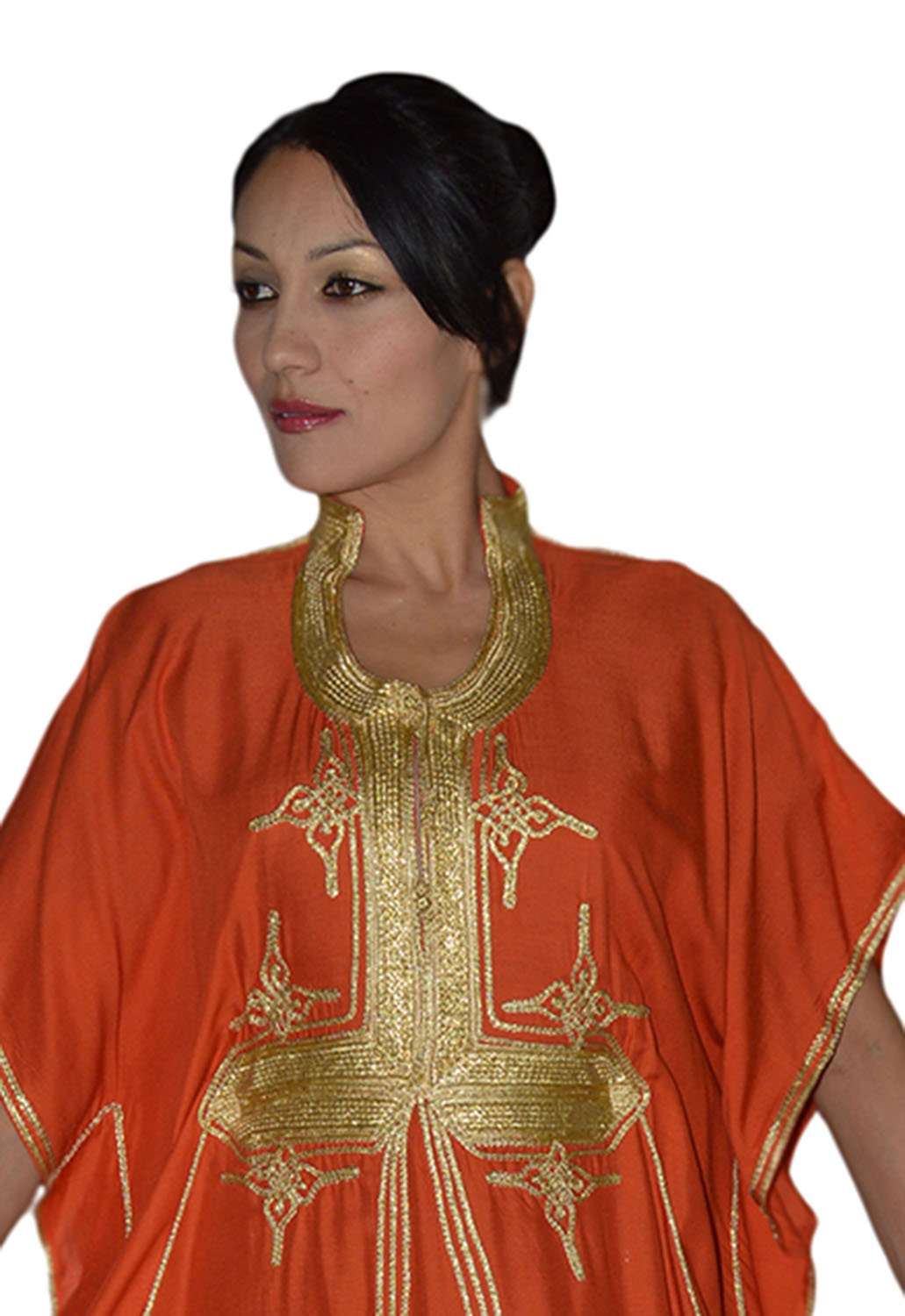 Moroccan Caftan Hand Made Breathable Cotton with Gold Hand Embroidery Long Orange by Moroccan Caftans (Image #2)