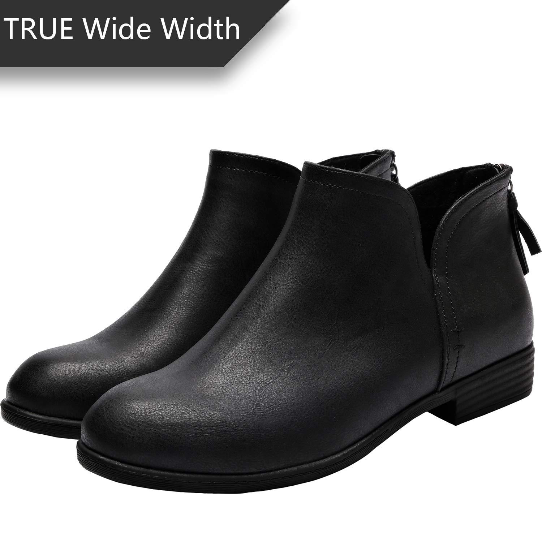 Women\u0027s Wide Width Ankle Boots , Classic Low Heel Back Zipper Comfortable  Booties.