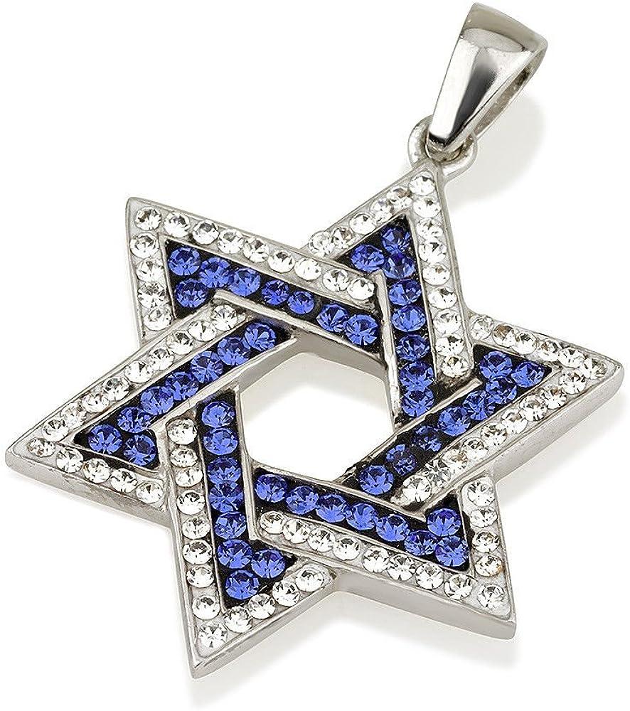 Colgante de estrella de David, piedras preciosas azules y blancas + collar de plata de ley n.º 5
