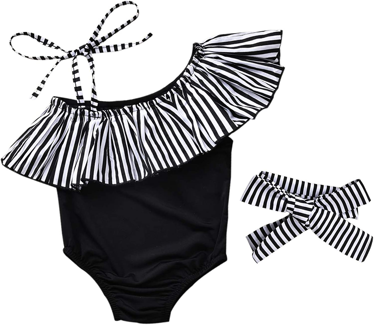 Toddler Baby Girl Tankini Swimsuit Two Piece Ruffle Leaf Swimwear Bathing Suit Beach Wear Outfits