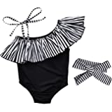 Baby Girl Hawaiian Ruffles Bikini One-Piece Swimsuit Beach Bathing Suit Floral Swimwear+Headband 2 Pcs Set