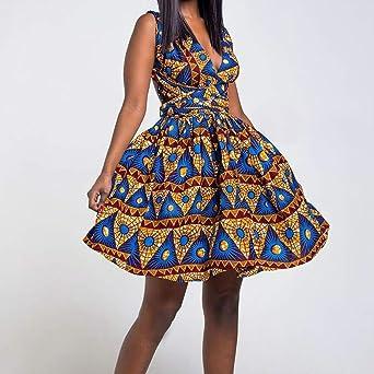 Yowablo sukienka damska, afrykański nadruk, długa sukienka, bez rękawÓw, na imprezę: Odzież