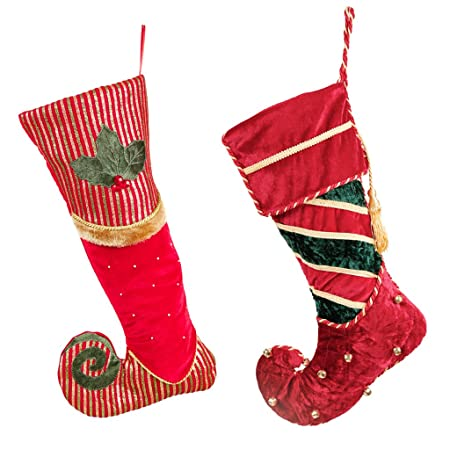 Luxury Christmas Stockings Uk.Dibor Luxury Decorative Velvet Christmas Elf Stocking Pair
