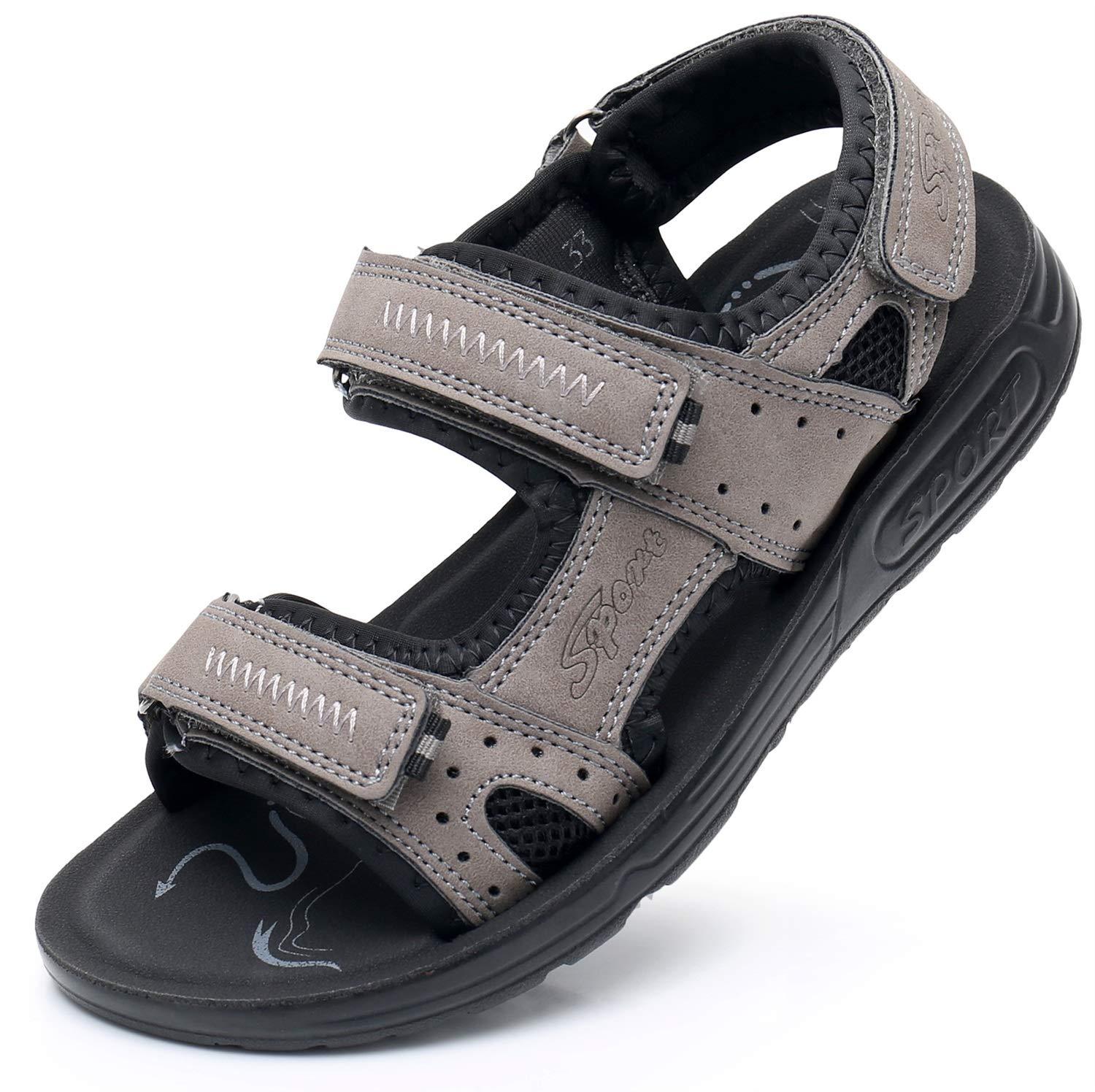 Color : Gray , Size : 5 M US Big Kid Non-Slip Summer Shoes Kids Boys Open Toe Three Strap Walking Sandals Durable