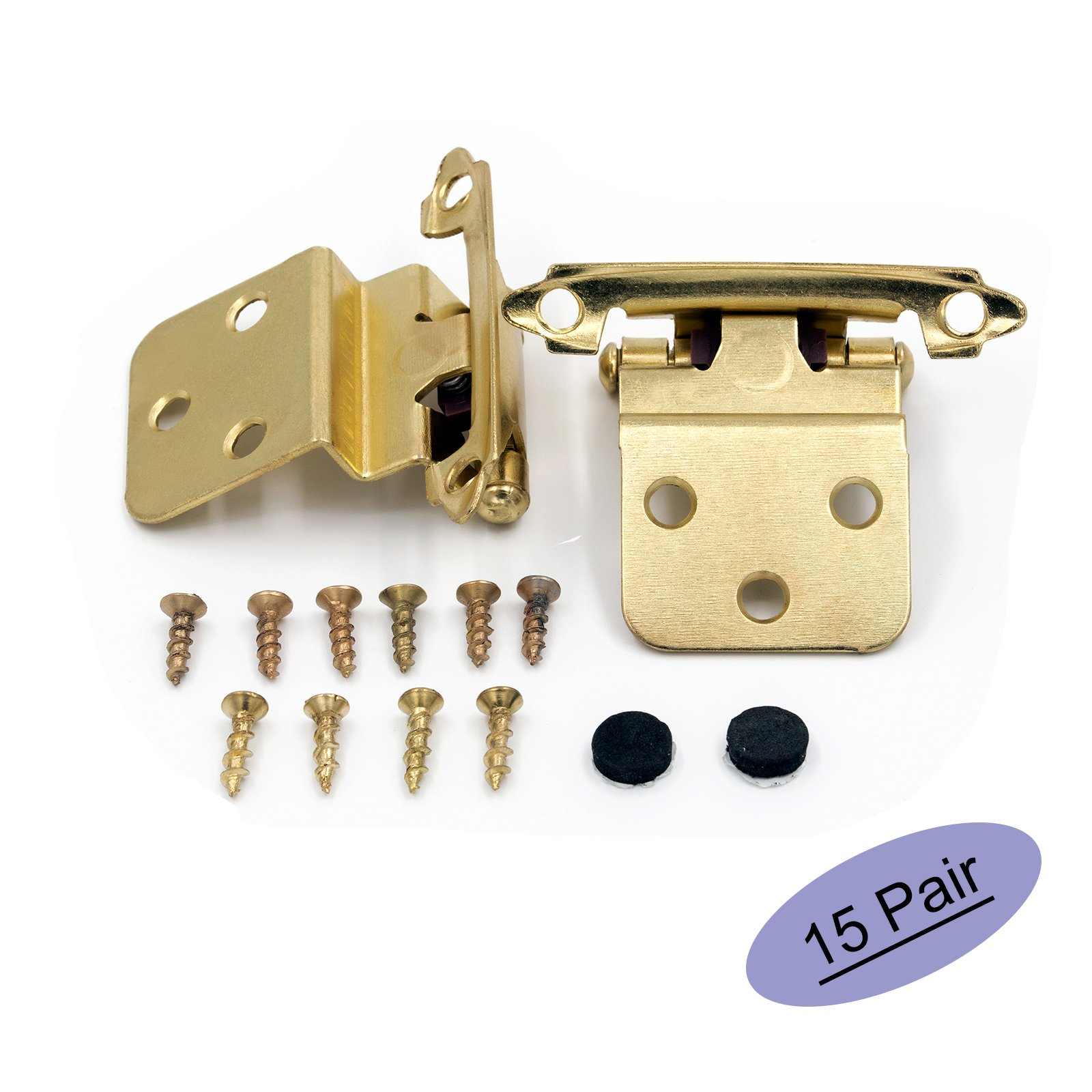 3/8'' Inset Cabinet Hinges Face Mount Self Closing Cabinet Door Hinges Inset - Glodenwarm Brass Stainless Steel Inset Hinges for Kitchen Cabinets SCH38BB-15Pair