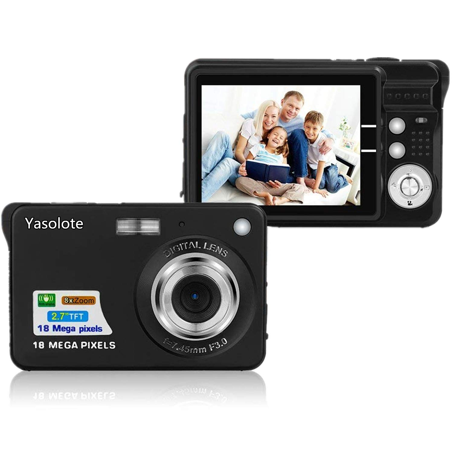 HD Mini Digital Camera with 2.7 Inch TFT LCD Display, Digital Point and Shoot Camera Black by Yasolote