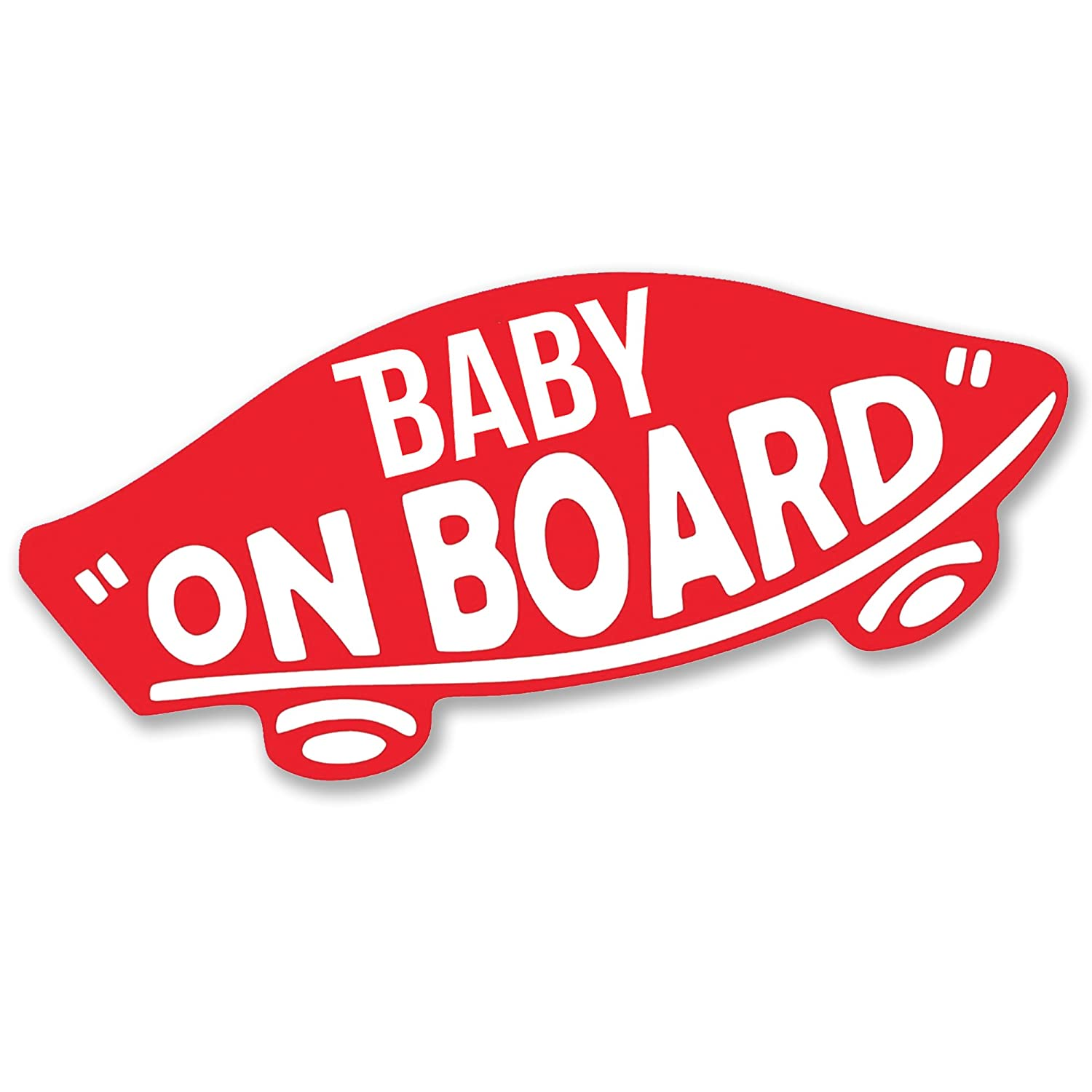 BABY ON BOARD Skate Style Car or Van Vinyl Decal Sticker (Red)