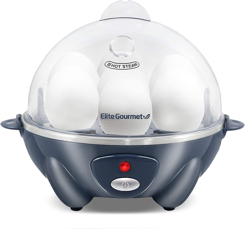 Elite Gourmet Eg EGC-007BG Easy Electric Poacher, Omelet Soft, Medium, Hard-Boiled Boiler Cooker with Auto Shut-Off and Buzzer, BPA Free, 7 Egg Capacity, Grey Blue