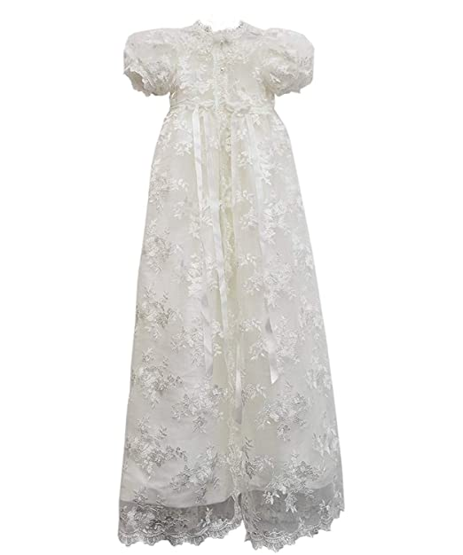 Carat Stunning Baby Lace Satin Christening Dress Baptism Gowns Bonnet 3 24m