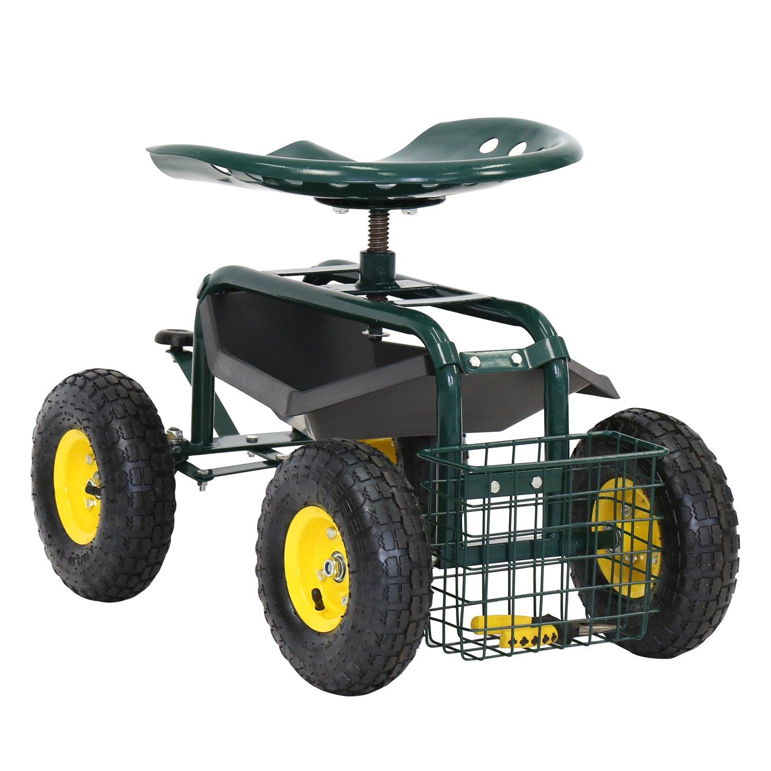 Kinbor Garden Cart Rolling Work Seat with Tool Tray Heavy Duty Gardening Planting New by Kinbor