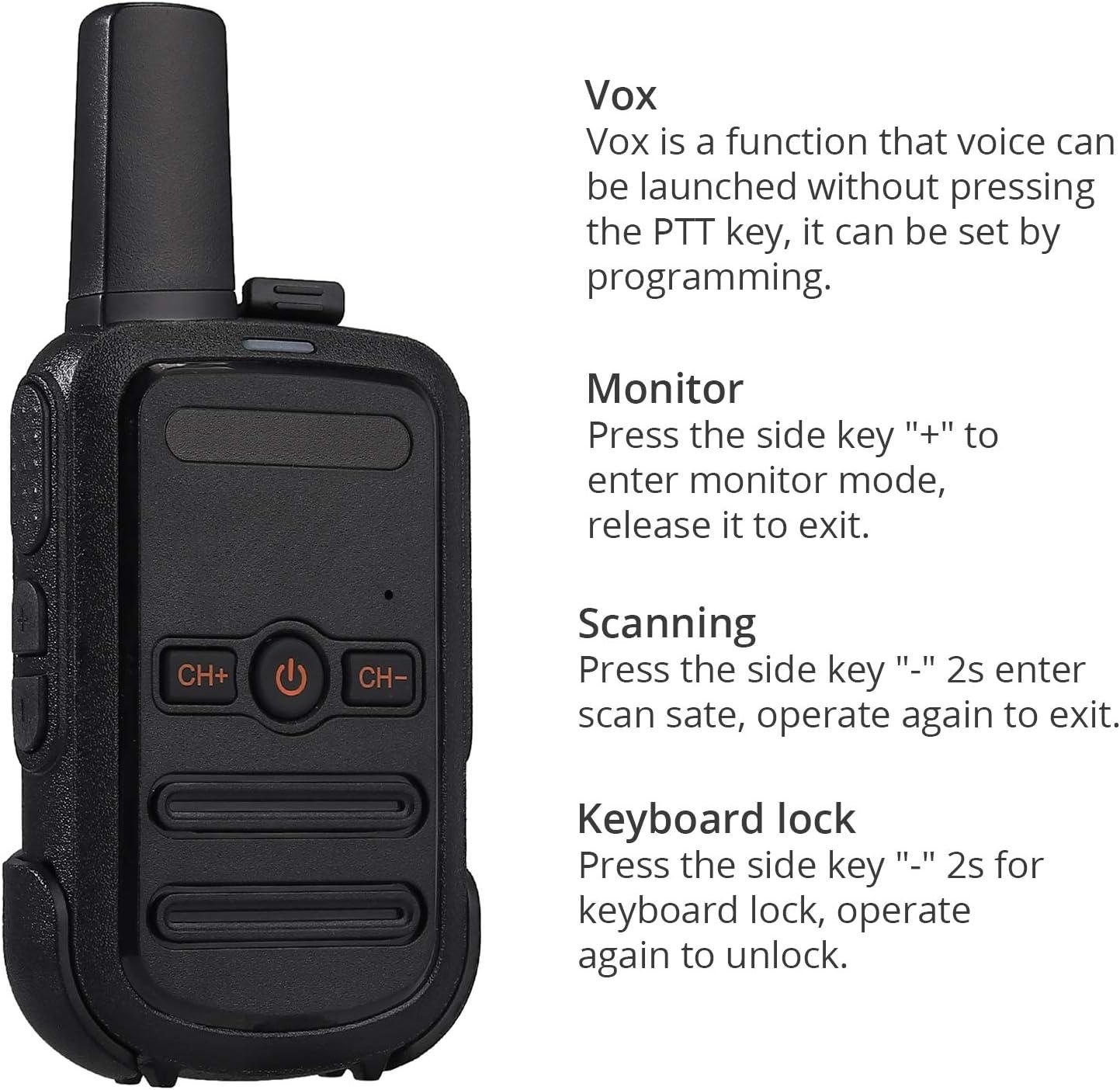 2 Pack Proster Mini Walkie Talkie FRS Rechargeable 16 Channel Lock Vox Handsfree Ski Walkie Talkies for Kids Adults