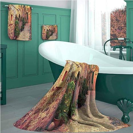 Wanderlust Juego de toallas de baño, diseño de calle antigua en España, 1 toalla de baño,
