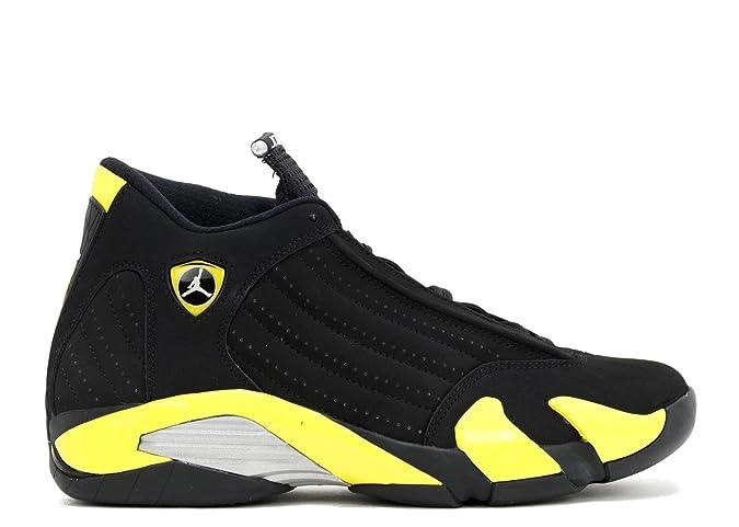 check out 8bcee 721f3 Amazon.com   Nike Air Jordan 14 Retro Men Sneakers Black White Vibrant  Yellow 487471-070   Basketball