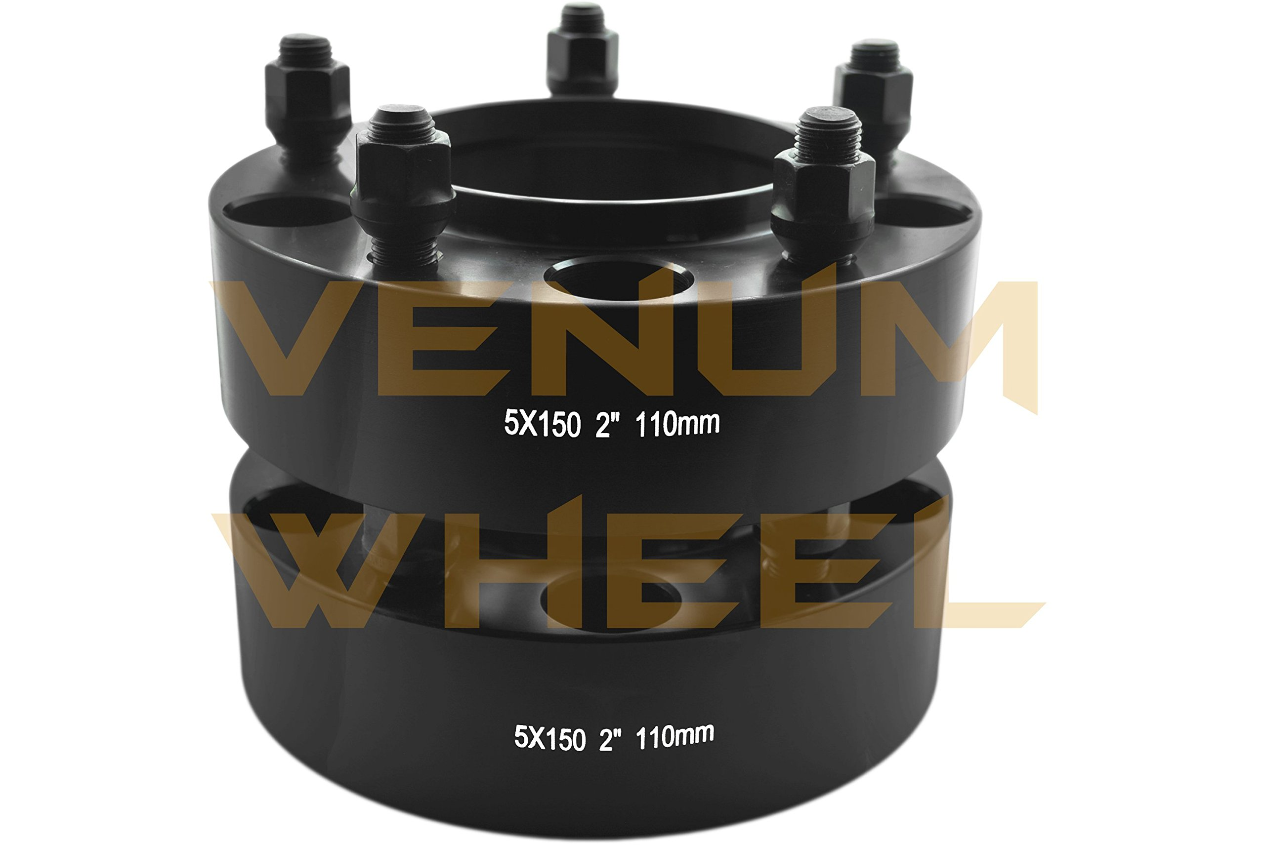 4 Pc 5x150 to 5x150 2'' Thick Black Hubcentric Wheel Spacers Adapter for Toyota Tundra 2007-2016 Hub Bore 110mm 14x1.5 Studs 6061 T6 Billet Aluminum (07-) Black by Venum wheel accessories (Image #3)