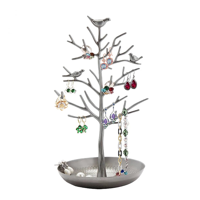 GAOU Porta gioielli a forma di albero con uccelli da appendere, Organizzazione e esposizione di orecchini, collane, bracciali, migliore regalo per San Valentino argento