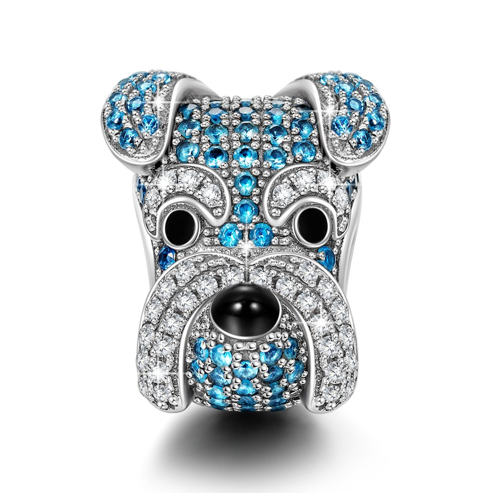 NINAQUEEN Schnauzer 925 Sterling Silver Puppy Dog Animal Beads Charm for Pandöra Birthday Anniversary Christmas Back to School Gifts for Teen Daughter Fiancee Teachers Sisters