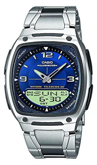 Casio Casio Collection - Reloj analógico - digital unisex de cuarzo con correa de acero inoxidable plateada (luz, cronómetro, alarma) - sumergible a 50 ...