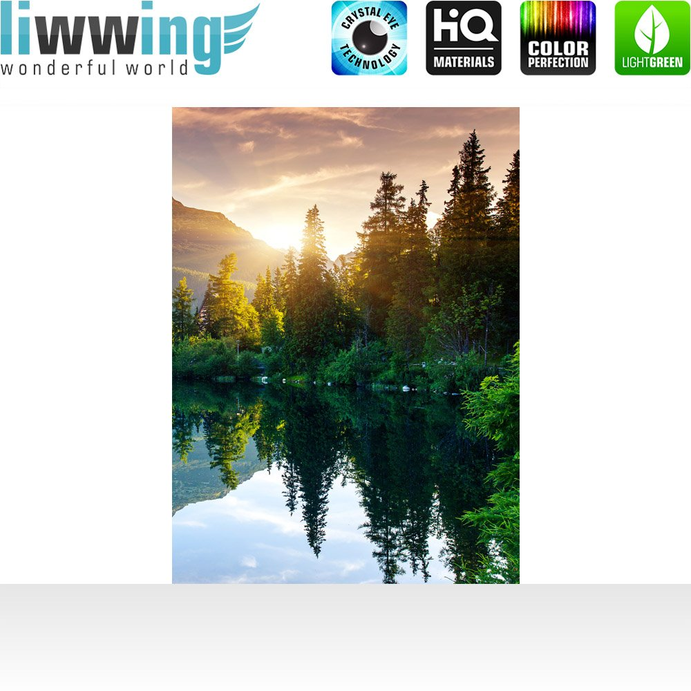 Vlies Fototapete 400x280 cm cm cm PREMIUM PLUS Wand Foto Tapete Wand Bild Vliestapete - MOUNTAIN LAKE VIEW - Berge See Sonnenuntergang Romantisch Bäume Wald - no. 051 340e20