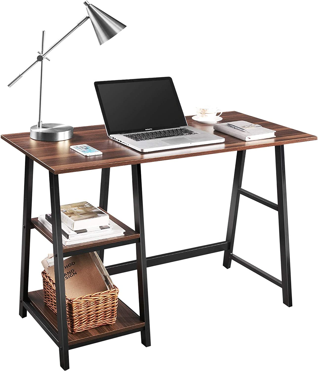 """Computer Desk, QooWare 43"""" Writing Desk with 2 Storage Shelves on Left or Right for Laptops, Modern Simple Study Wooden Desk with Metal Frame for Home Office, Supports Up to 150lbs"""