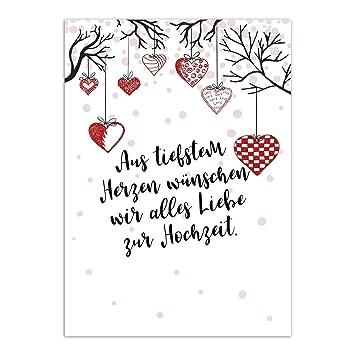 Gluckwunschkarte Zur Hochzeit Motiv Hangende Herzen Moderne