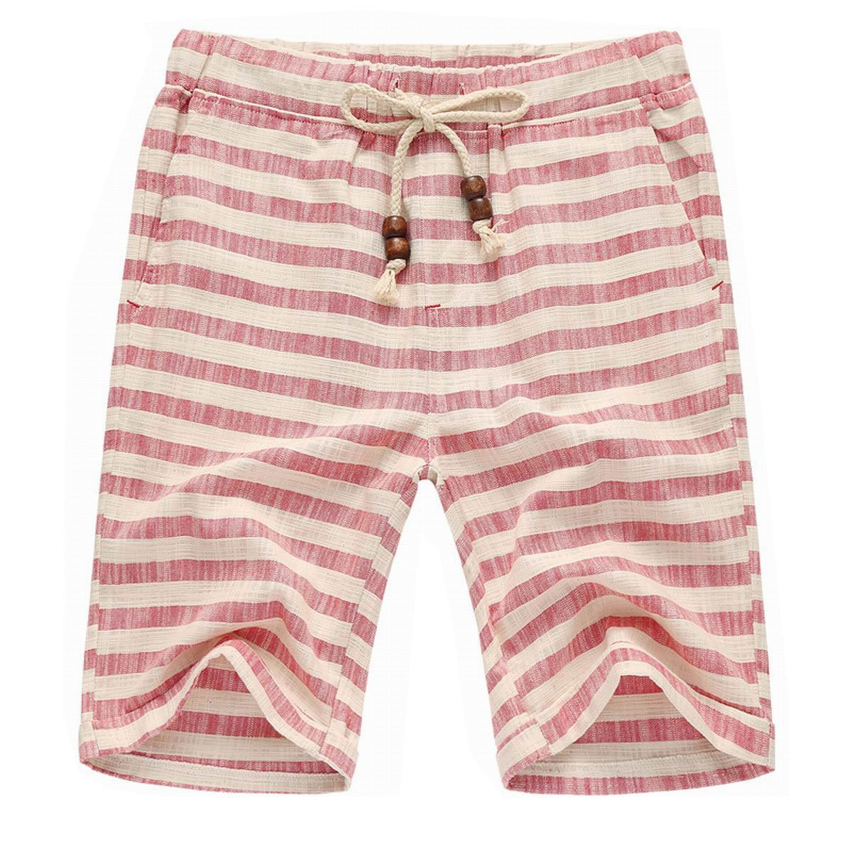 Men's Summer Casual Linen Drawstring Striped Beach Shorts