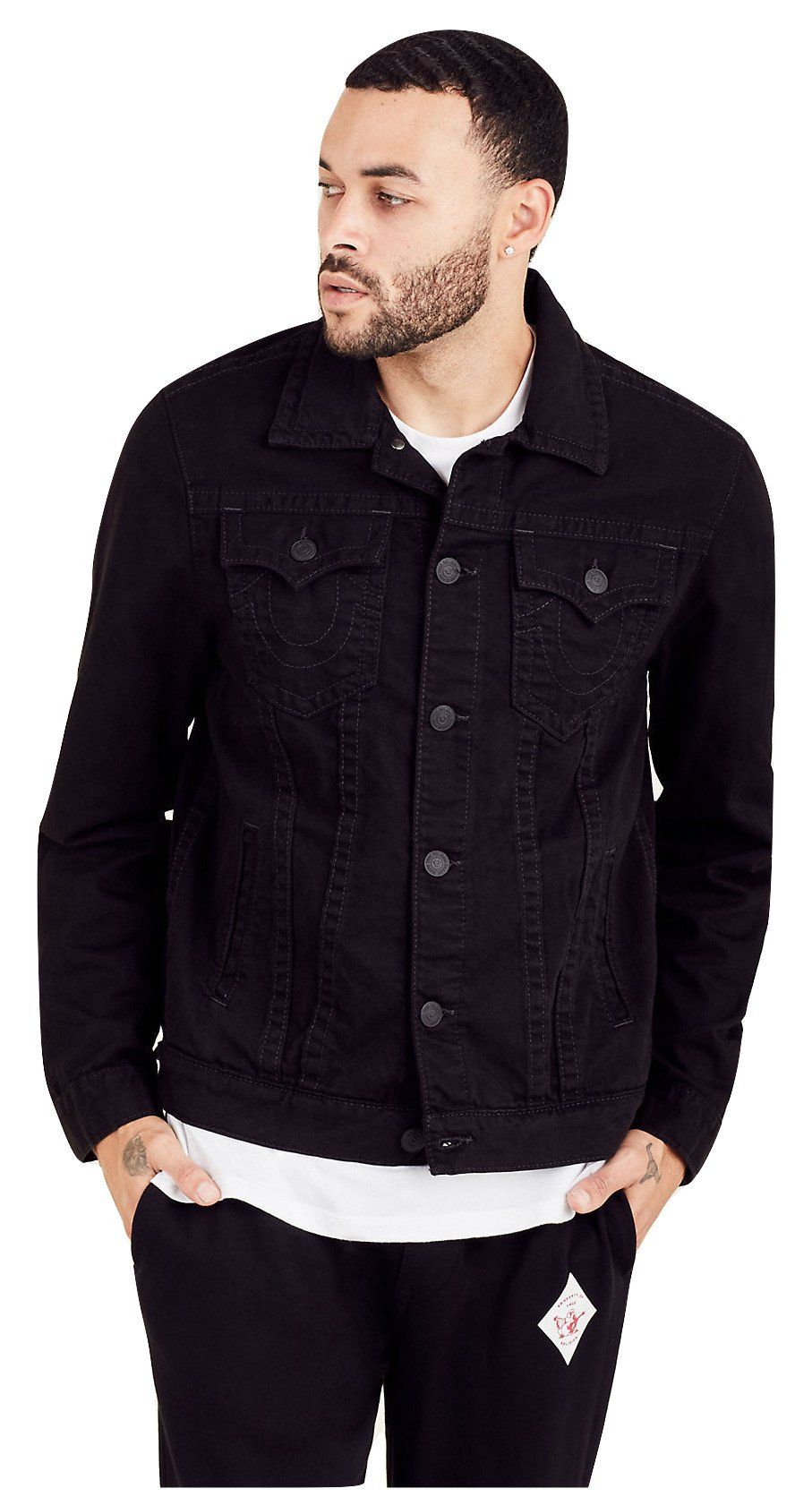 True Religion Men's Trucker Jacket in Jet Black (Small) by True Religion