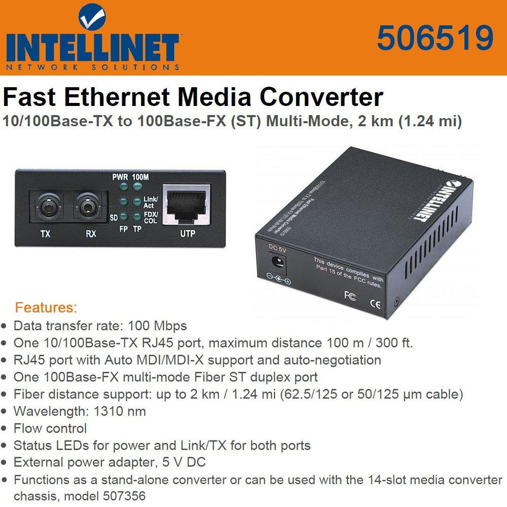 Intellinet 506519 Fast Ethernet Media Converter 10/100Base-TX to 100Base-FX (ST) Multi-Mode
