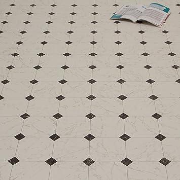 PVC Bodenbelag Fliese Marmor Schwarz Weiß 2,80 mm Breite 2 m (9,95 ...