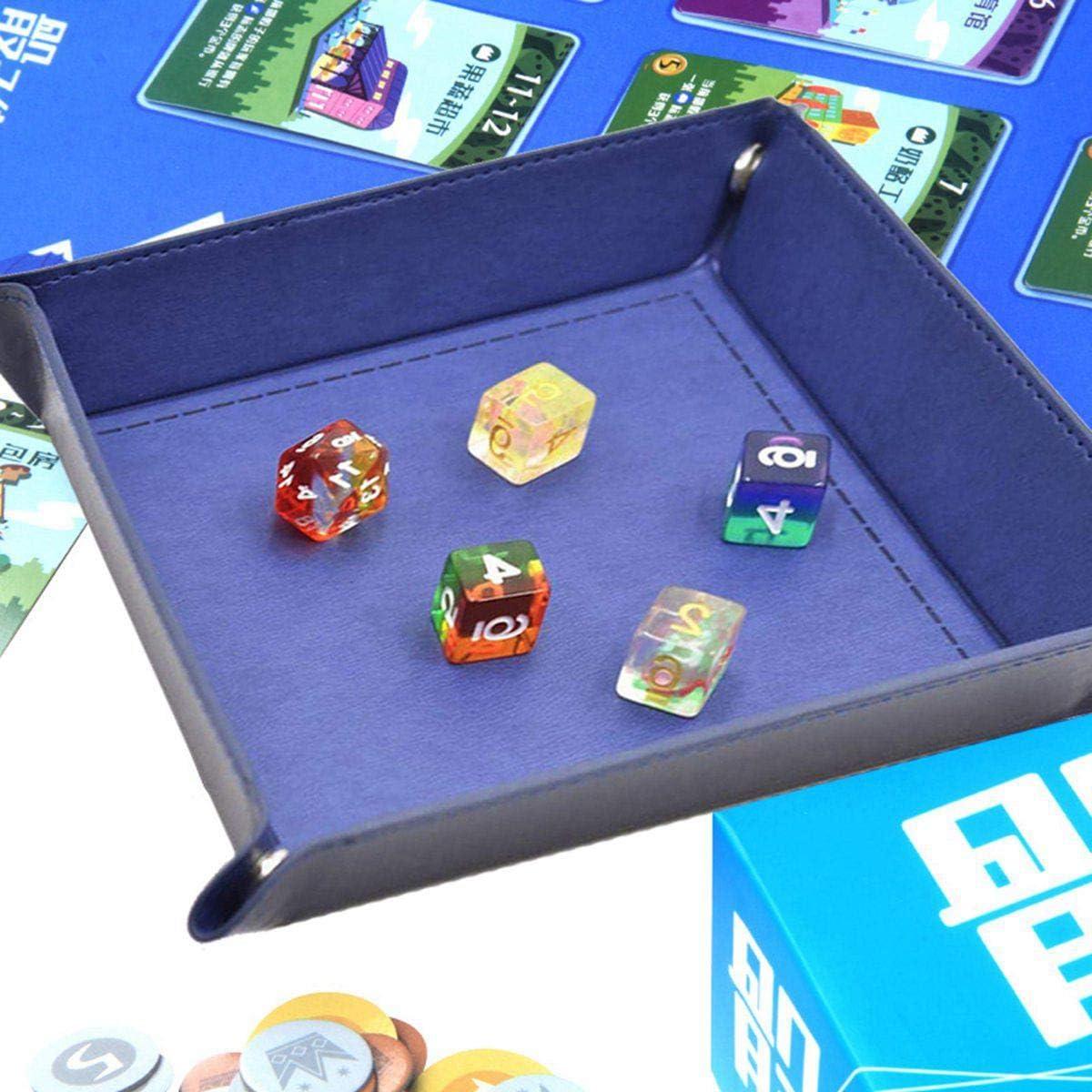 Samt Faltbar W/ürfelteller Doppelseitig W/ürfelbrett f/ür Rollenspiele Ablageschale RPG DND und Tischspiele W/ürfelspiele PASDD PU Leder Dice Tray