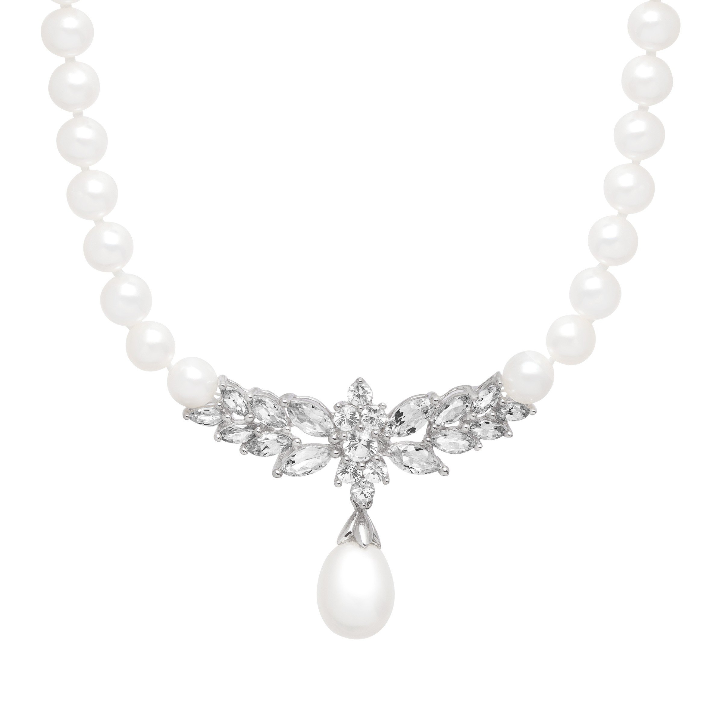 3 1/3 ct Created White Sapphire & Freshwater Cultured Pearl Necklace in 14K White Gold